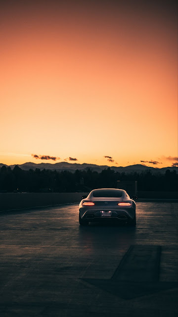 Free wallpaper Mercedes, Gray Car, Sunset