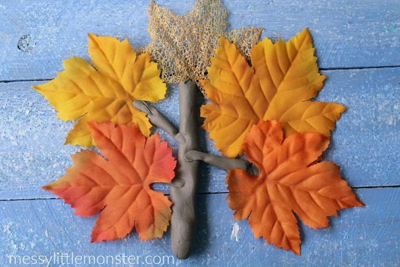 Playdough tree autumn activities for kids