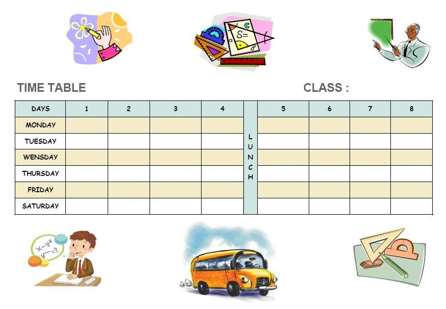 Free printable school timetable templates School Timetable templates - time table excel
