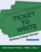 book cover for Ticket to Write: Writing College Essays by Susan Thurman