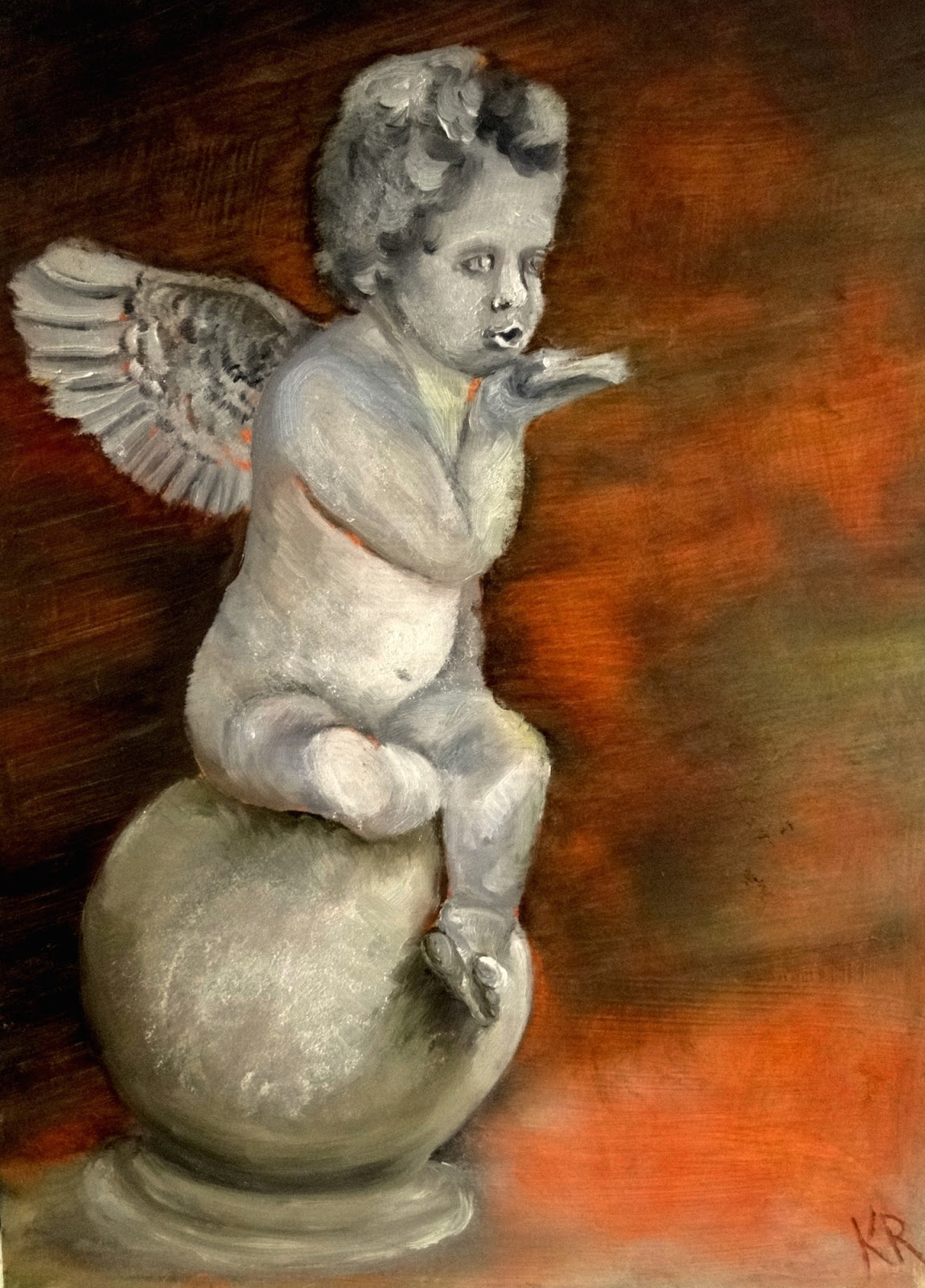 cherub blowing a kiss, an oil painting,