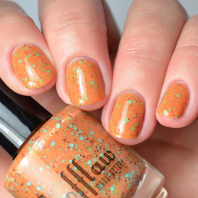 orange nail polish with colorful glitter four finger swatch