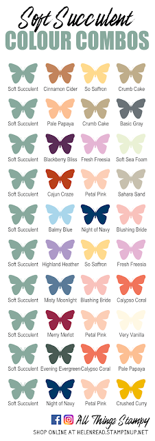 Stampin Up In Colors 2021 colour combinations Soft Succulent