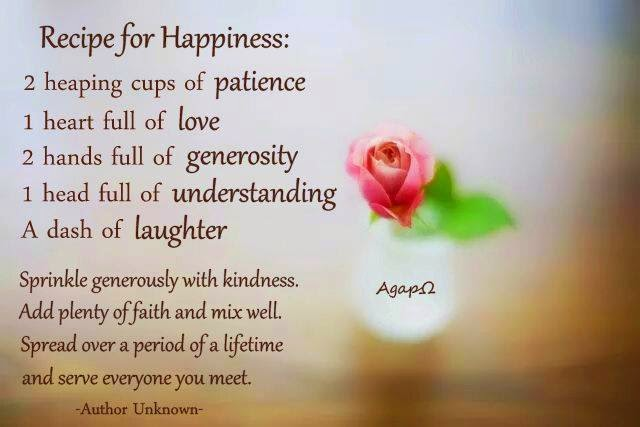 Recipe For Happiness Heaping Cups Of Patience Heart Full Of Love