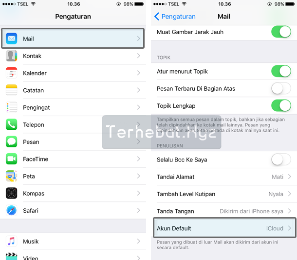 mengganti default email di iPhone