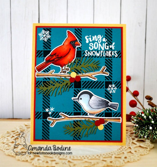 Winter Birds Card by Amanda Bodine | Winter Birds Stamp Set, Pines & Holly Die Set, and Plaid Stencil Set by Newton's Nook Designs #newtonsnook #handmade