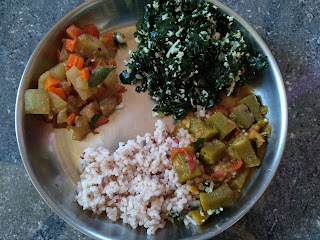 Hand pound Red rice,  Ladies finger Sambar,  Ash gourd Carrot curry,  Moringa greens poriyal