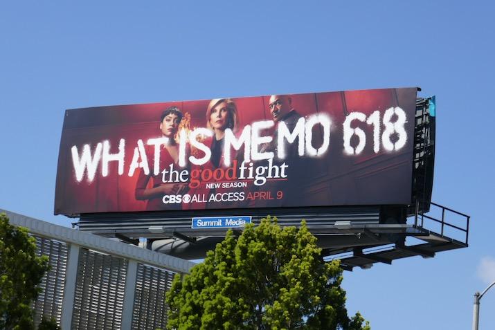 What is Memo 618 Good Fight season 4 billboard