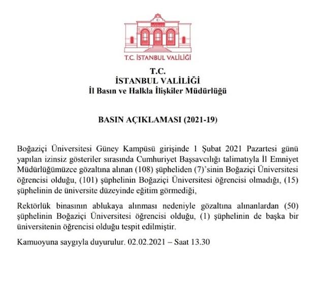 İstanbul Valiliği: 108 şüpheliden sadece 7'si Boğaziçili