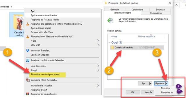 ripristinare versioni precedenti dei file in windows