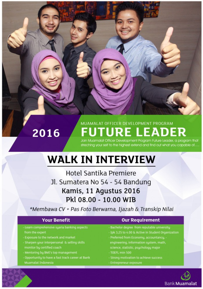 Lowongan Kerja Bank Muamalat Bandung ( Walk in Interview ) Agustus 2016