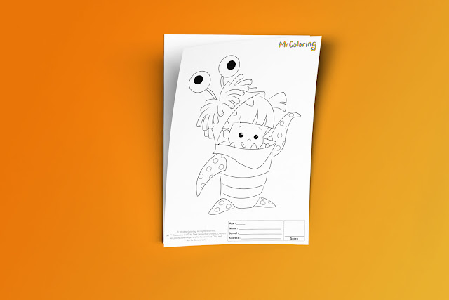 Free Printable Scary Monster Inc Coloriage Outline Blank Boo Disney Coloring Page pdf For Kids Kindergarten Preschool toddler coloring sheets 3