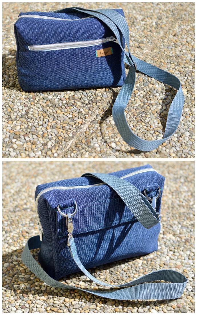 Meine Hüfttasche einmal von vorne und einmal von hinten. Schlicht gehalten, aus blauem Taschensstoff Rom mit Gurtband als Träger