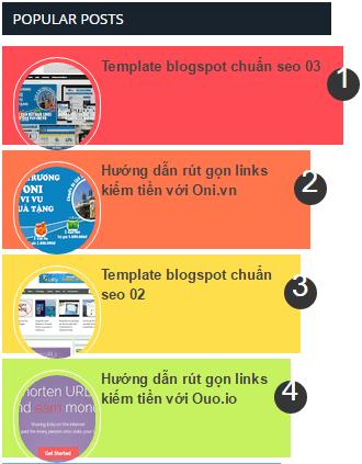 Hiệu ứng Popular Posts nhiều màu sắc cho blogger