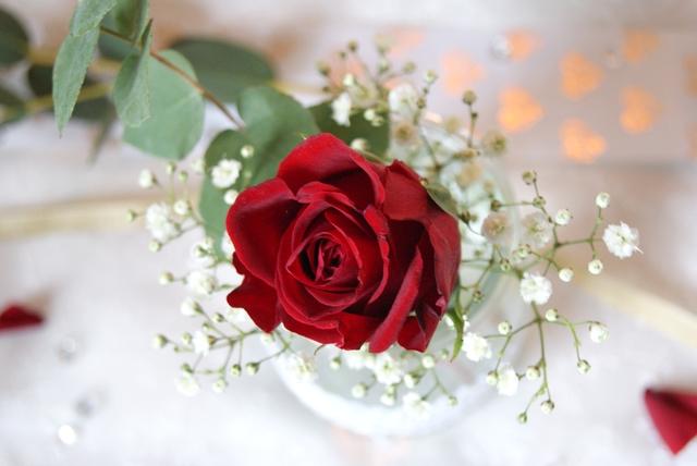 Tischdeko zur Hochzeit mit roten Rosen und Schleierkraut