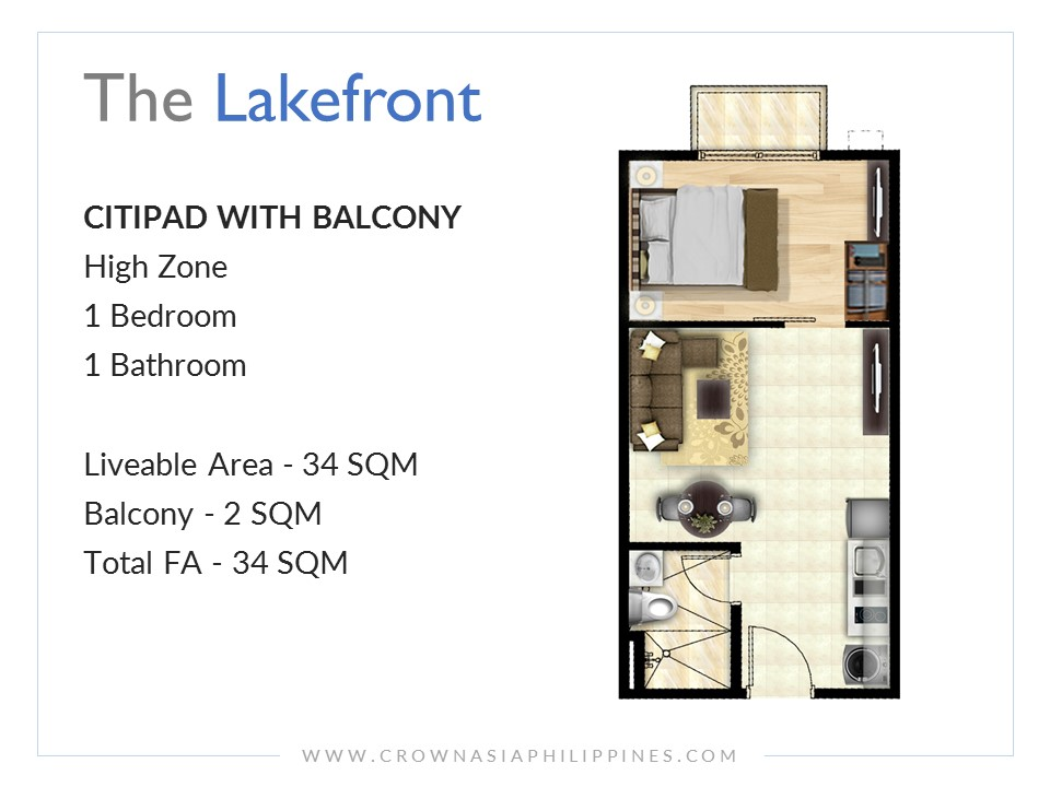 The Lakefront Santorini - Citipad With Balcony 1-Bedroom| Crown Asia Prime Condominium for Sale in Sucat