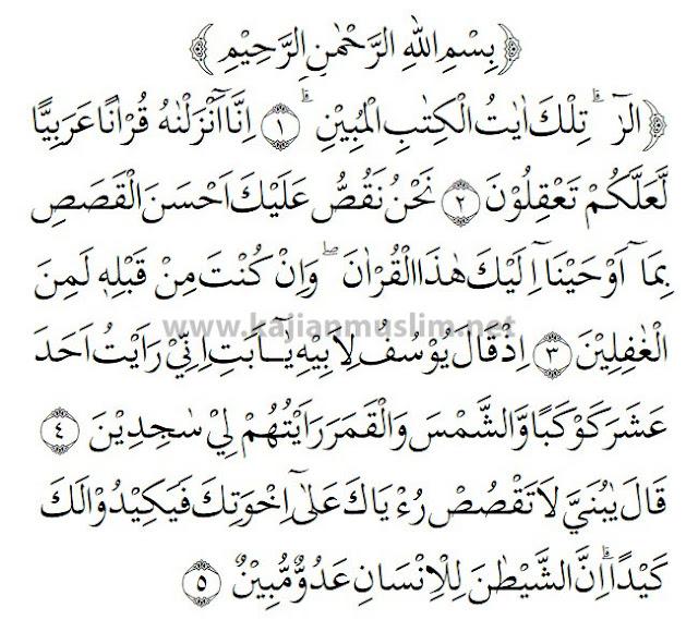 Surat Yusuf English Translation Ayat 1-5