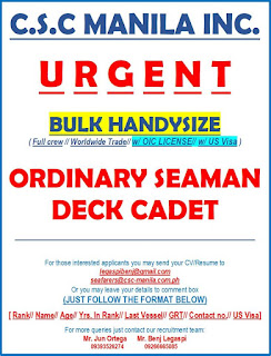 35 jobs vacancy for seaman Filipino crew rank ordinary seaman and deck cadet join this month