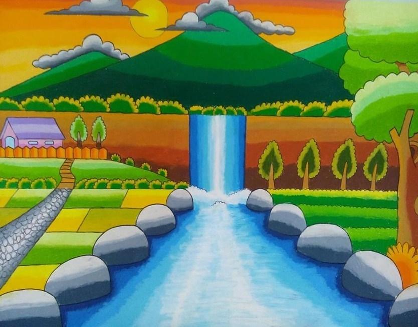7000 Contoh Lukisan Pemandangan Yang Mudah Ditiru Oleh Anak Anak HD