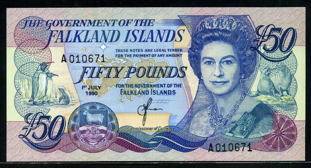 Falkland Islands banknotes currency collection Fifty Pounds note, Queen Elizabeth