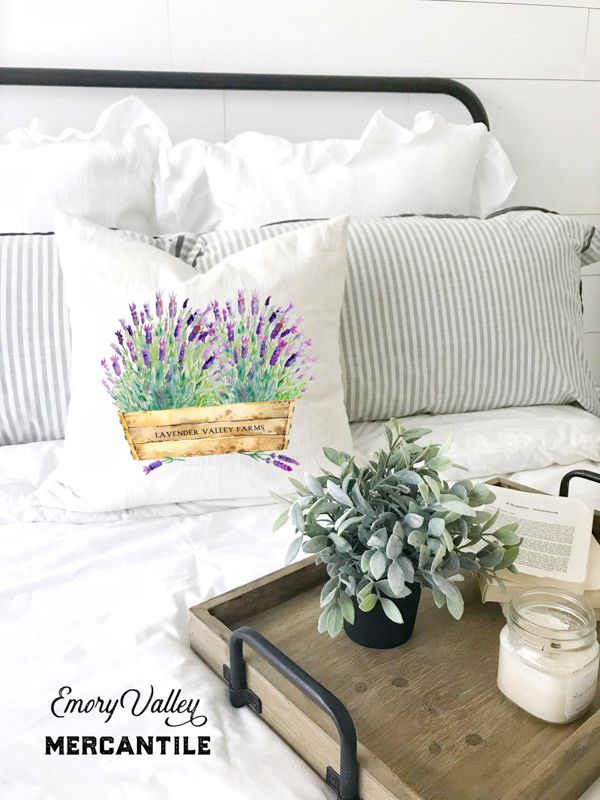 watercolor lavender pillow