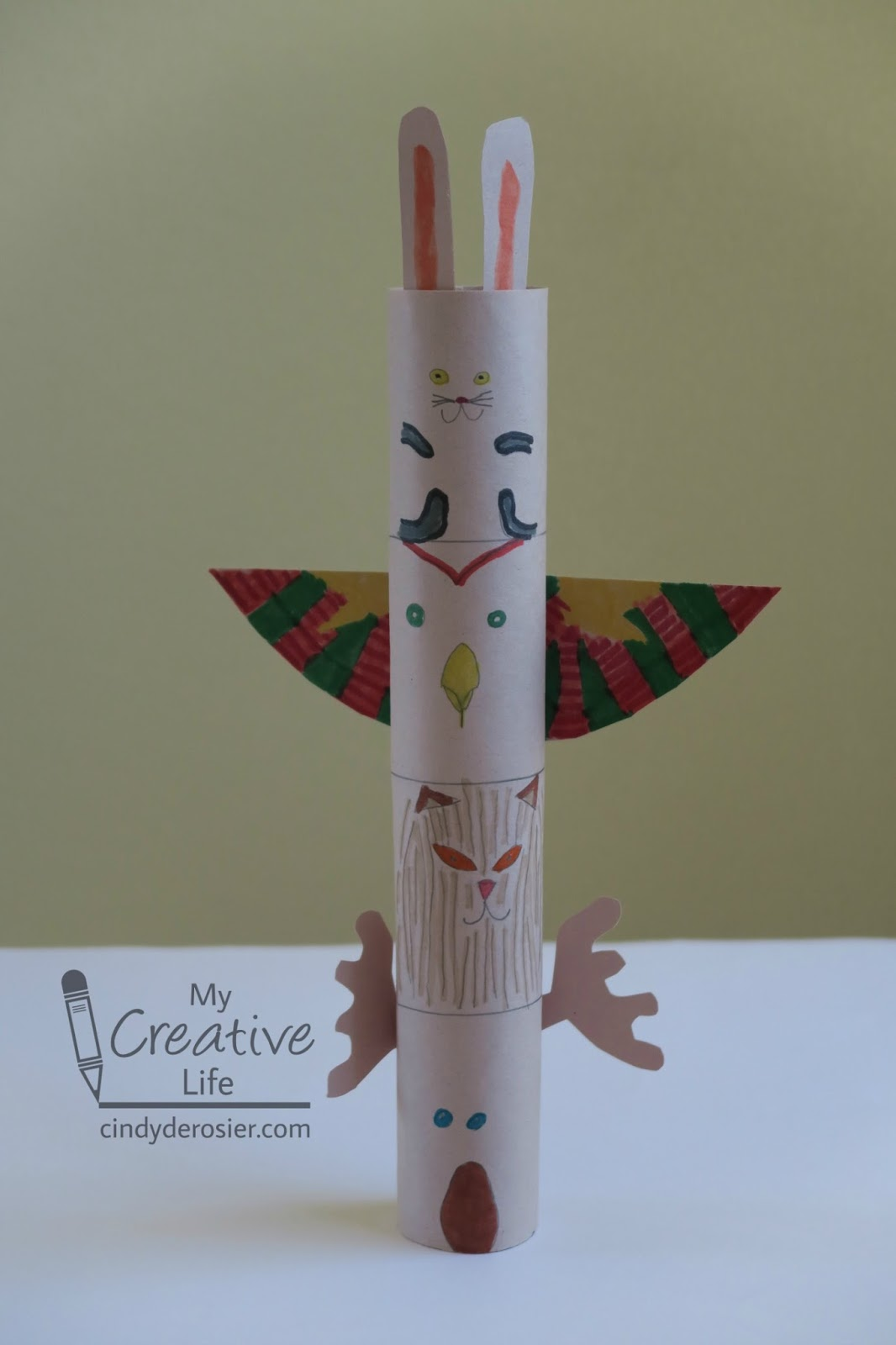 There's no better way to connec. Cindy Derosier My Creative Life Cardboard Tube Totem Pole Craft