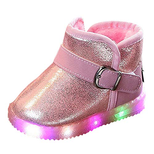 4d9c41efd4cc Baby Toddler Boys Girls LED Light Up Shoes Snow Boots 1-6 Years Old Kids  Luminous Winter Warm Sneakers Boots (18-24 Months