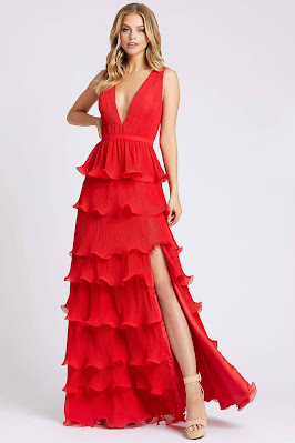 Tiered skirts evening dress V-neck A-line Ieena for duggal red color