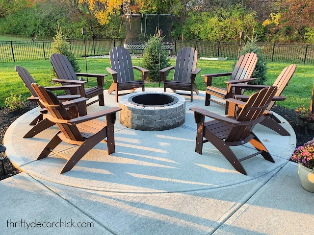 Large round fire pit area on patio
