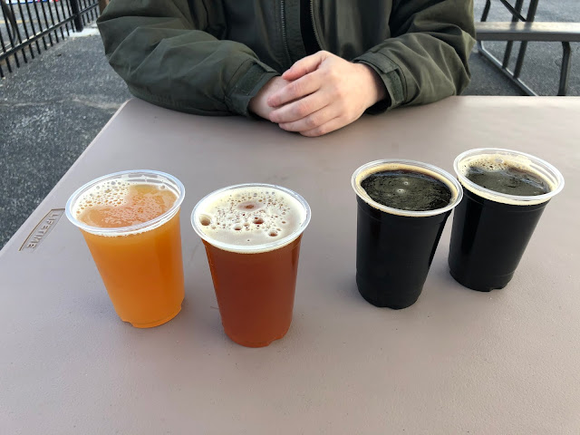 Quite the sampling of microbrews at Wake Brewing! Hard to choose!