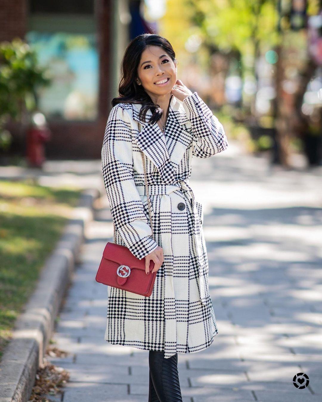 White and black plaid coat