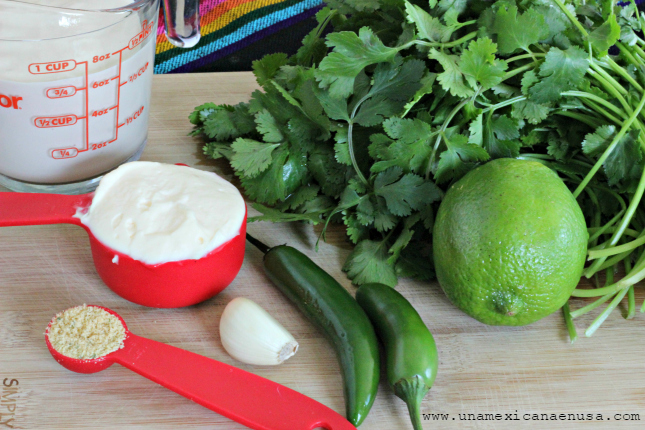 Ingredientes para preparar papas en salsa cremosa de cilantro by www.unamexicanaenusa.com