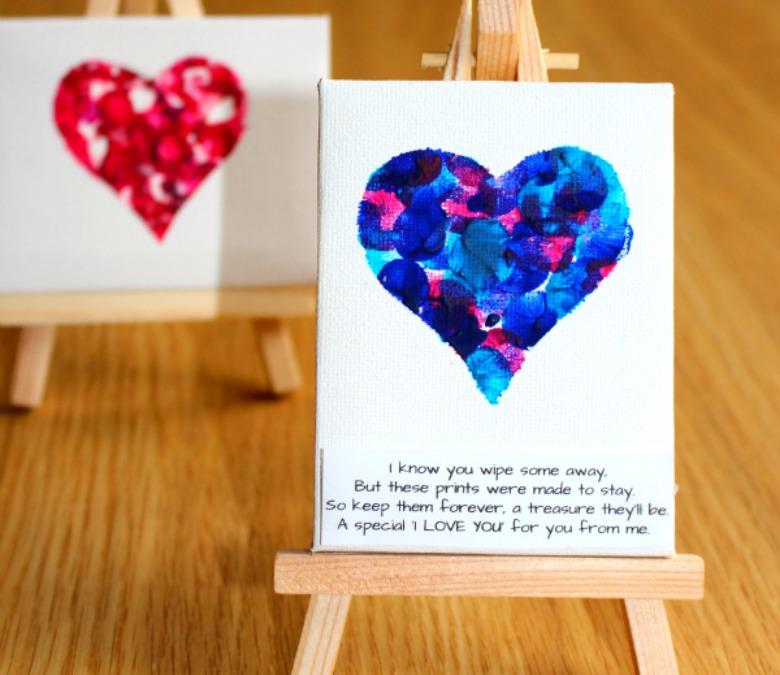 fingerprint heart art for kids