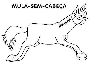 Desenho da mula sem cabeça para colorir