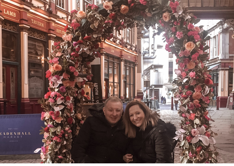 A photo of Dan and I in Leadenhall Market in a blog post about simple ways to create lasting memories with your partner.