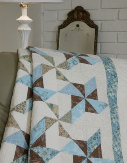 Blue Ribbon Swirls Quilt Free Pattern