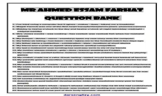 اجمل بنك اسئلة فى اللغة الانجليزية للصف الثالث الثانوى 2021 اعداد مستر احمد عصام فرحات