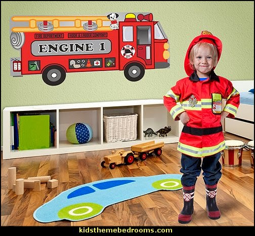 Firetruck Wall Decal Set fire truck bedroom decor - Firefighter bedding - fireman bedding - fire truck bedroom decorating ideas - flames bedding - Fire Engine Beds - Fire truck bedrooms - dalmatian theme bedrooms