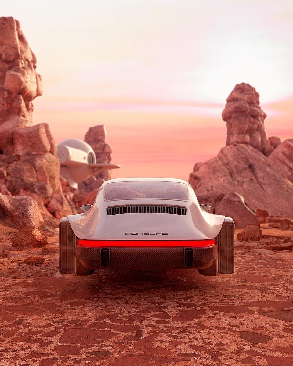 Hovering Porsche 911 approaching Martian outpost by Chris Labrooy