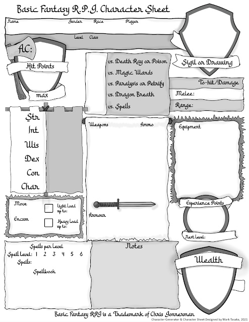 Basic Fantasy RPG Character Sheet