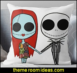 Jack and Sandy - The Nightmare Before Christmas Throw Pillow