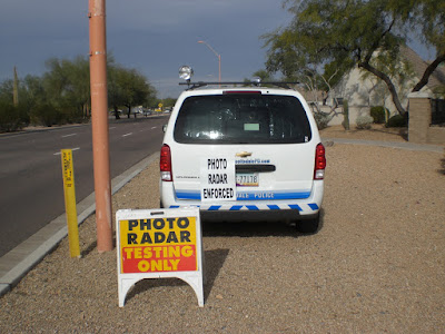 Photo Radar Testing Only sign