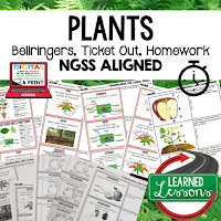 Plants, LIFE SCIENCE Warm Ups & Bell Ringers, LIFE SCIENCE Use Ticket Out, Homework NGSS 6-8 Science, Print and Digital