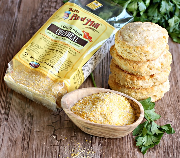 Recipe for cornmeal biscuits, sweetened with honey, and served with a BBQ pulled brisket.