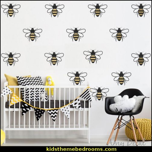 Bee Wall Pattern Decals 2 Color Honey Bee Wall Stickers Modern Nursery Home Decor Vinyl Stickers For Kids Room Murals Bumble bee bedroom ideas bumble bee bedrooms - Bumble bee decor - Honey bee decor - decorating bumble bee home decor - Bumble Bee themed nursery - bee wallpaper mural decals - Honeycomb Stencil - hexagonal stencils - bees in springtime garden bedroom -  bee themed nursery - black yellow bedroom ideas