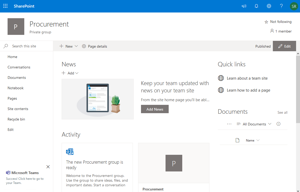microsoft teams and sharepoint online integration