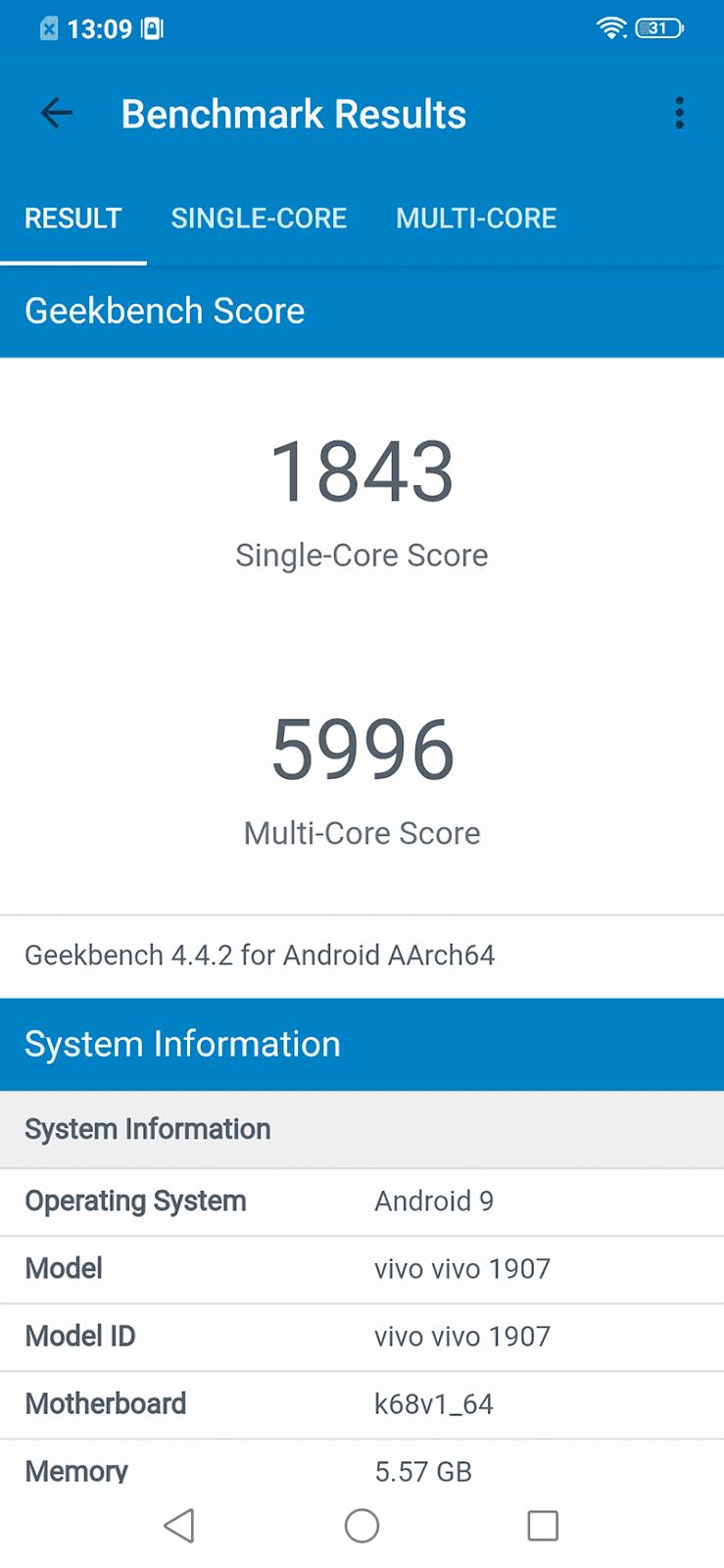 GeekBench 4 score