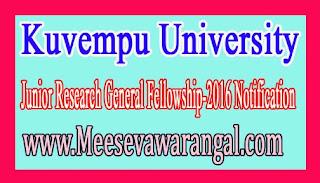 Kuvempu University Junior Research General Fellowship-2016 Notification