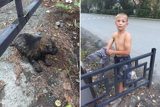 12 летний Саша Чыбыкин рискуя жизнью спас из затопленной сточной канавы двух щенков