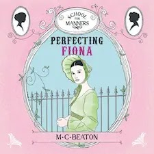 Audiobook cover for Perfecting Fiona. A pretty woman in a bonnet and green dress.